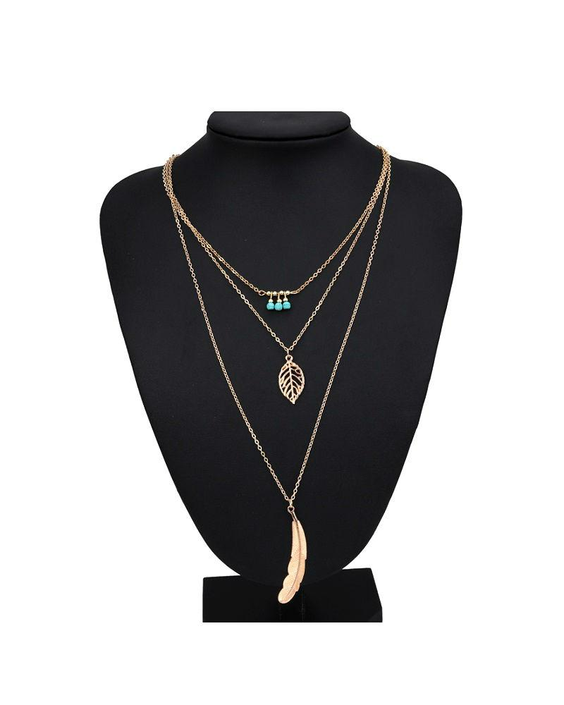 Steffe Layered Leaves Necklaces