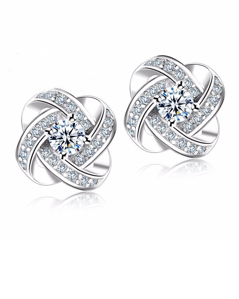 Steffe Sterling Silver Crystal Knot Flower Stud Earrings