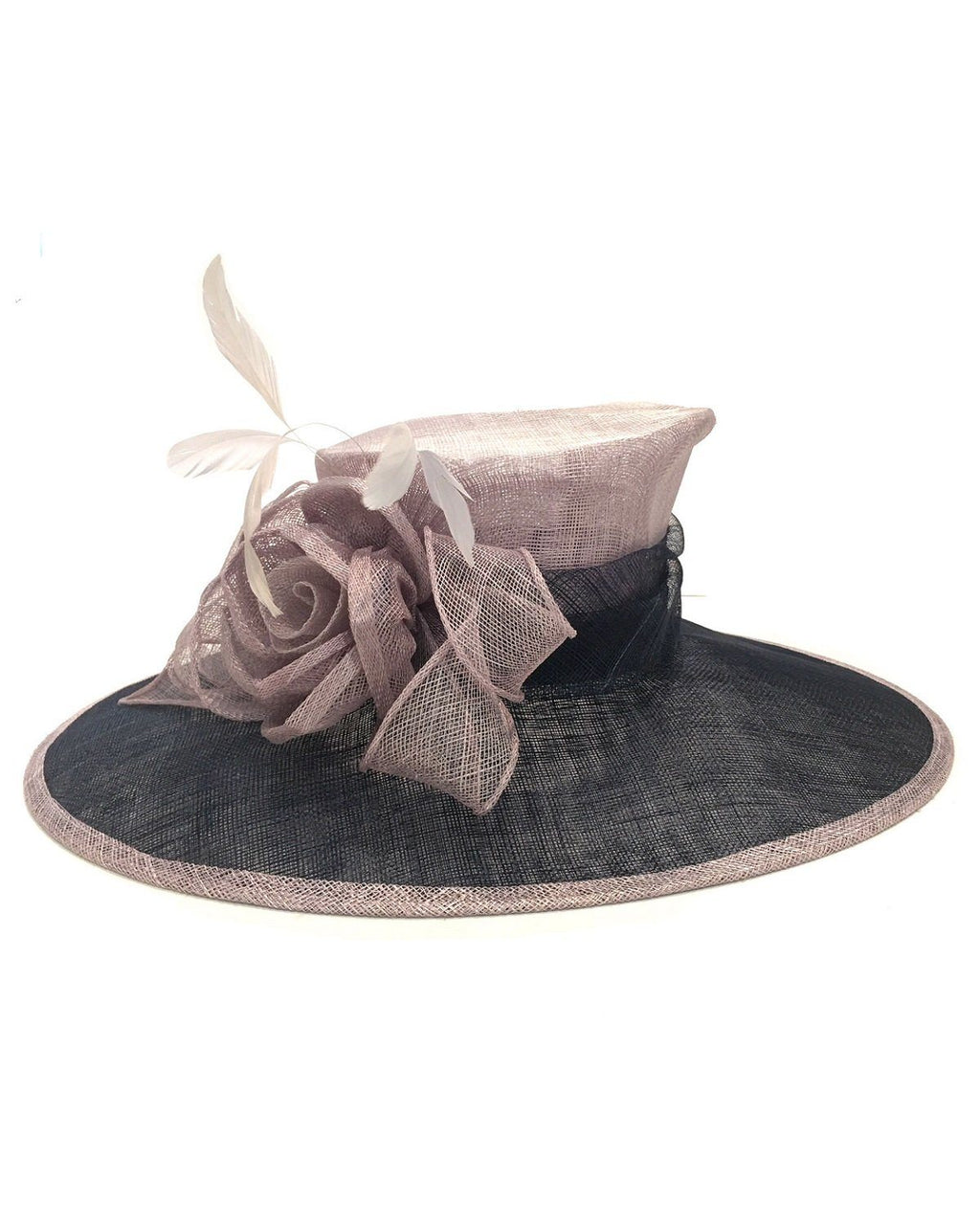 Fine Millinery by August Hat Co Bow & Feather Accented Mesh Straw Hat