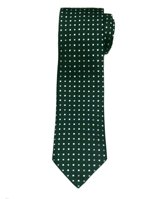 Ermenegildo Zegna Dots Silk Tie, Hunter Green