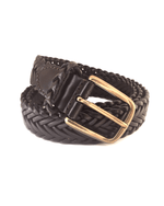 Club Room Buckle Genuine Leather Braided Belt