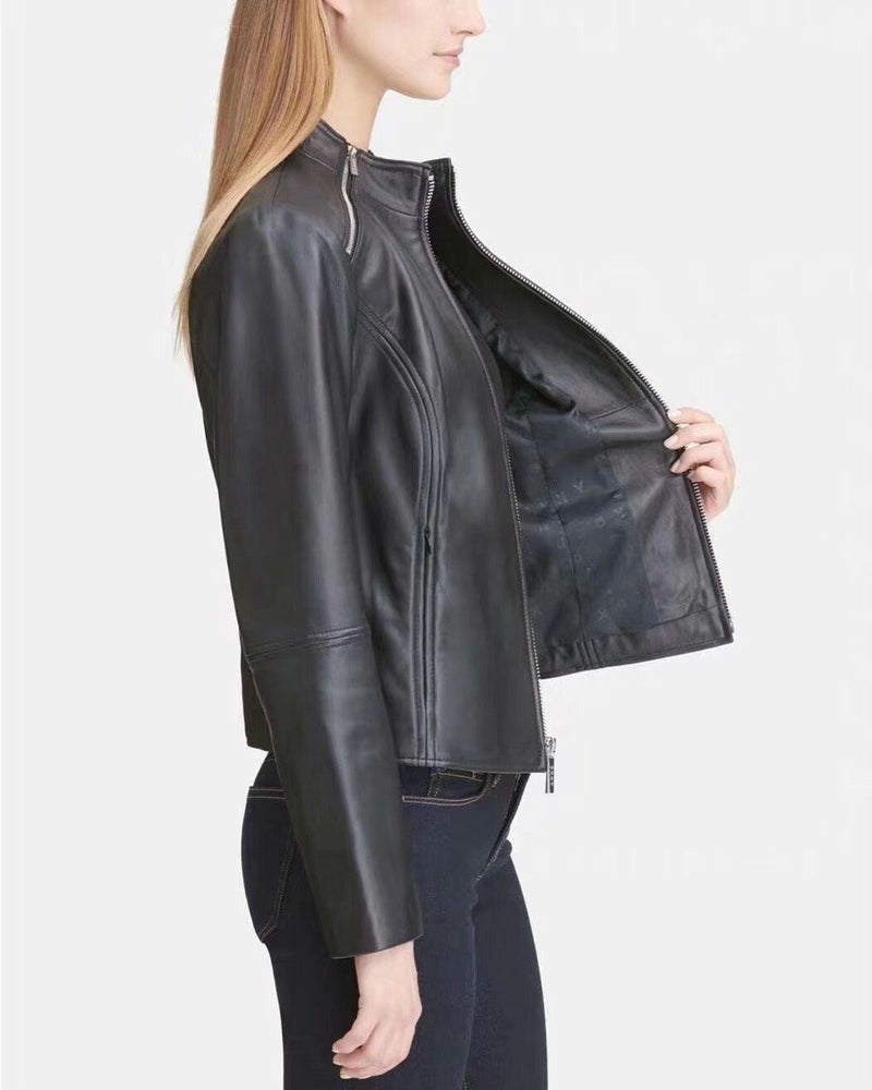 DKNY Women's Leather Moto Jacket