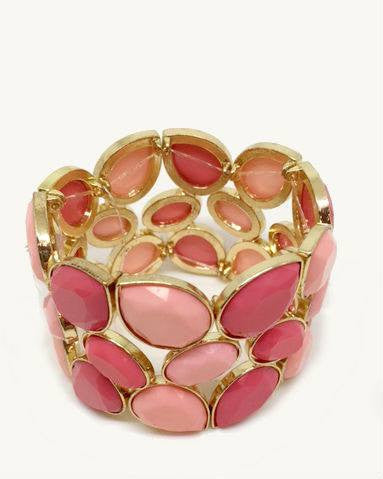Thalia Sodi Pink Stone Stretch Table Wide Cuff Bracelet-THALIA SODI-Fashionbarn shop