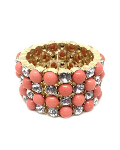 INC Gold Gemstone with Crystal 4 Row Stretch Bracelet - Fashionbarn shop