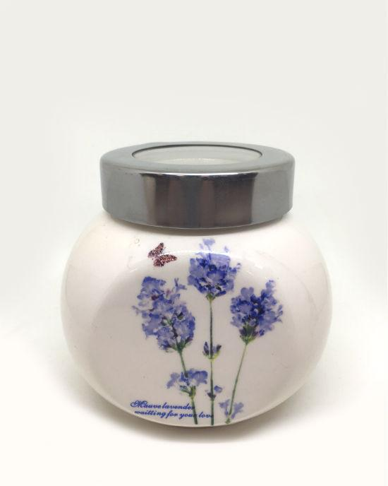 HOMEMAX Lavender painted Set Of 2 Ceramic Canisters