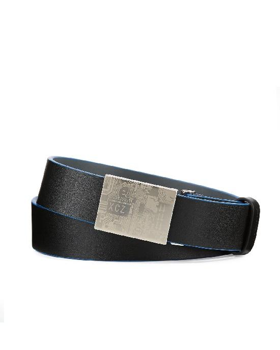 Robert Graham Gravity Leather Belt. Black / Blue