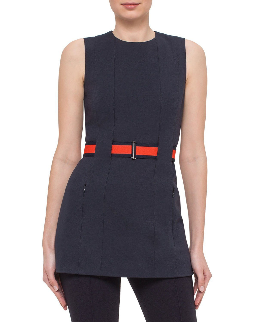 Akris Punto Canvas Sleeveless Belted Jersey Tunic Dress