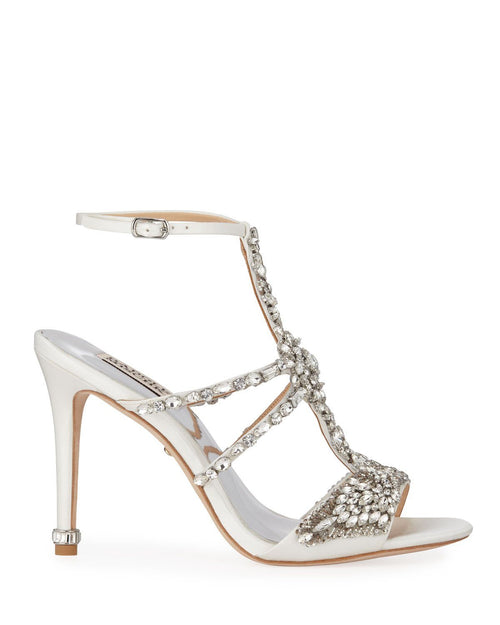 Badgley Mischka Hughes Embellished Strappy Satin Sandals