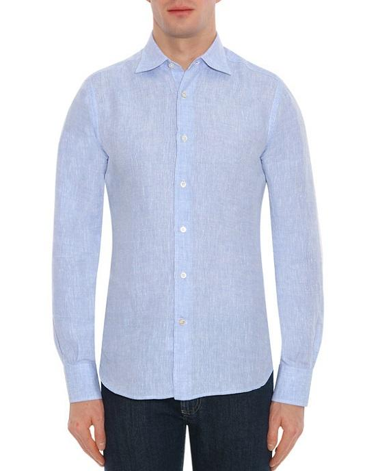 Canali ASH Linen Slim Fit Shirt, Blue