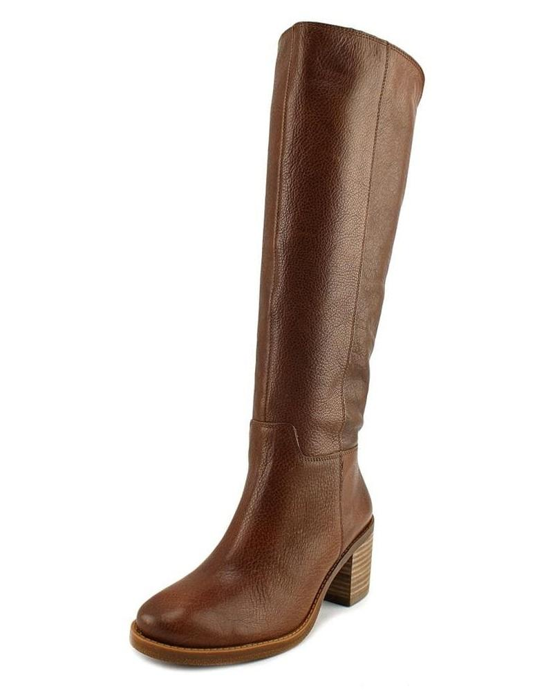 Lucky Brand Ritten Wide Calf Women Round Toe Leather Brown Knee High Boot