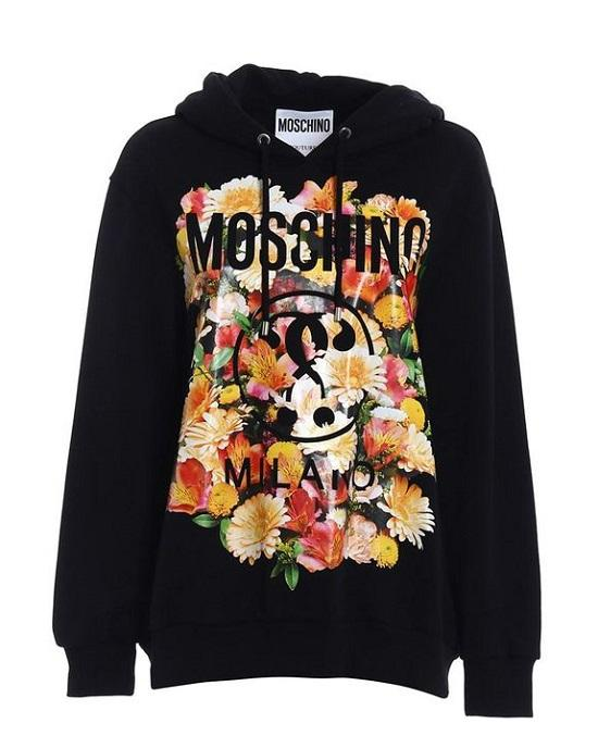 Moschino Cotton Hoodie With Floral Logo Motif Black