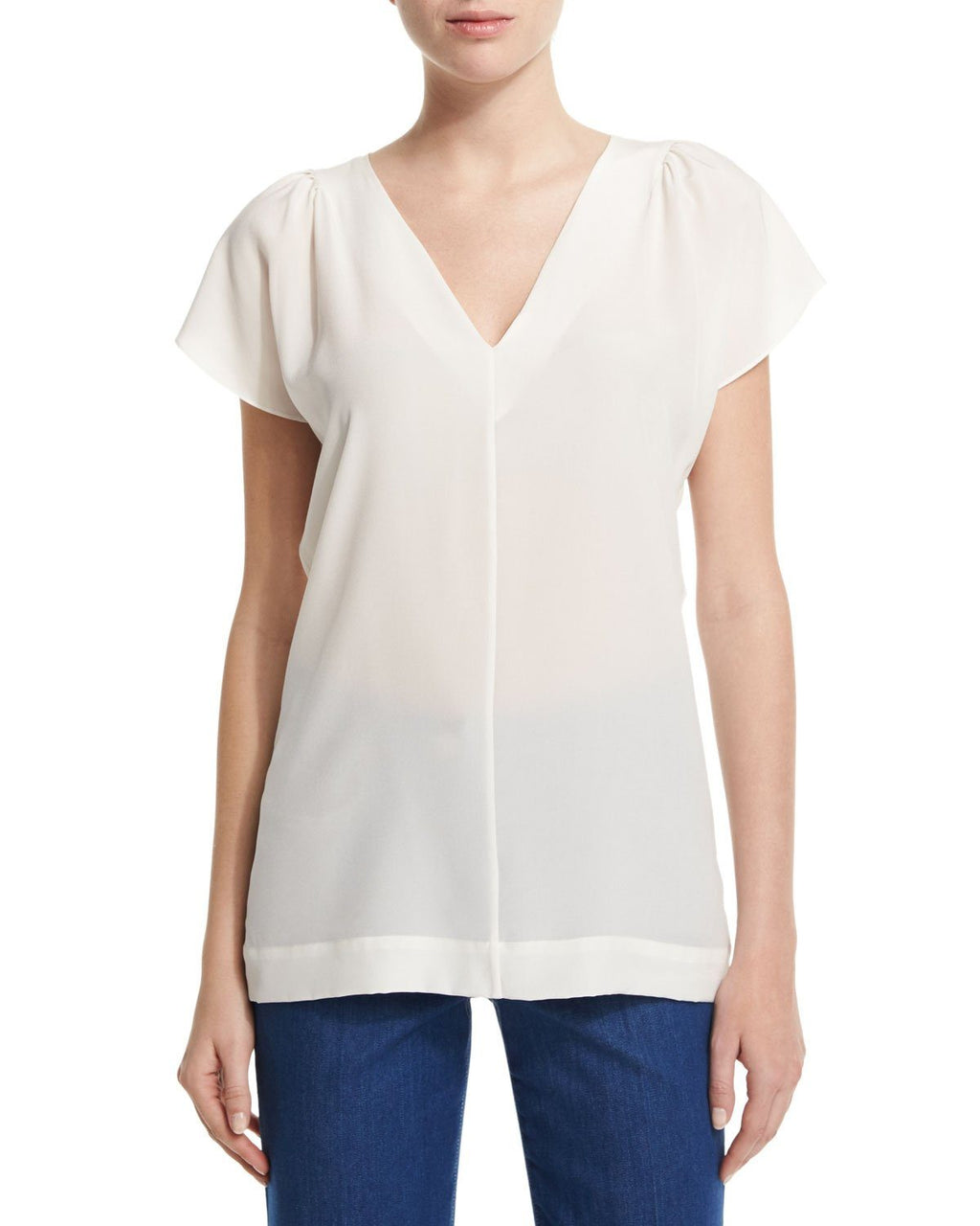 Escada V-Neck Flutter-Sleeve Shell, Off White