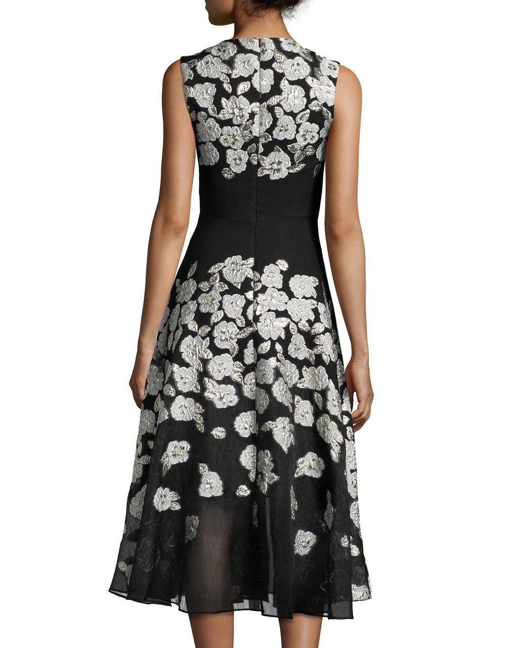 Lela Rose Sleeveless Stamped-Floral Dress, Black