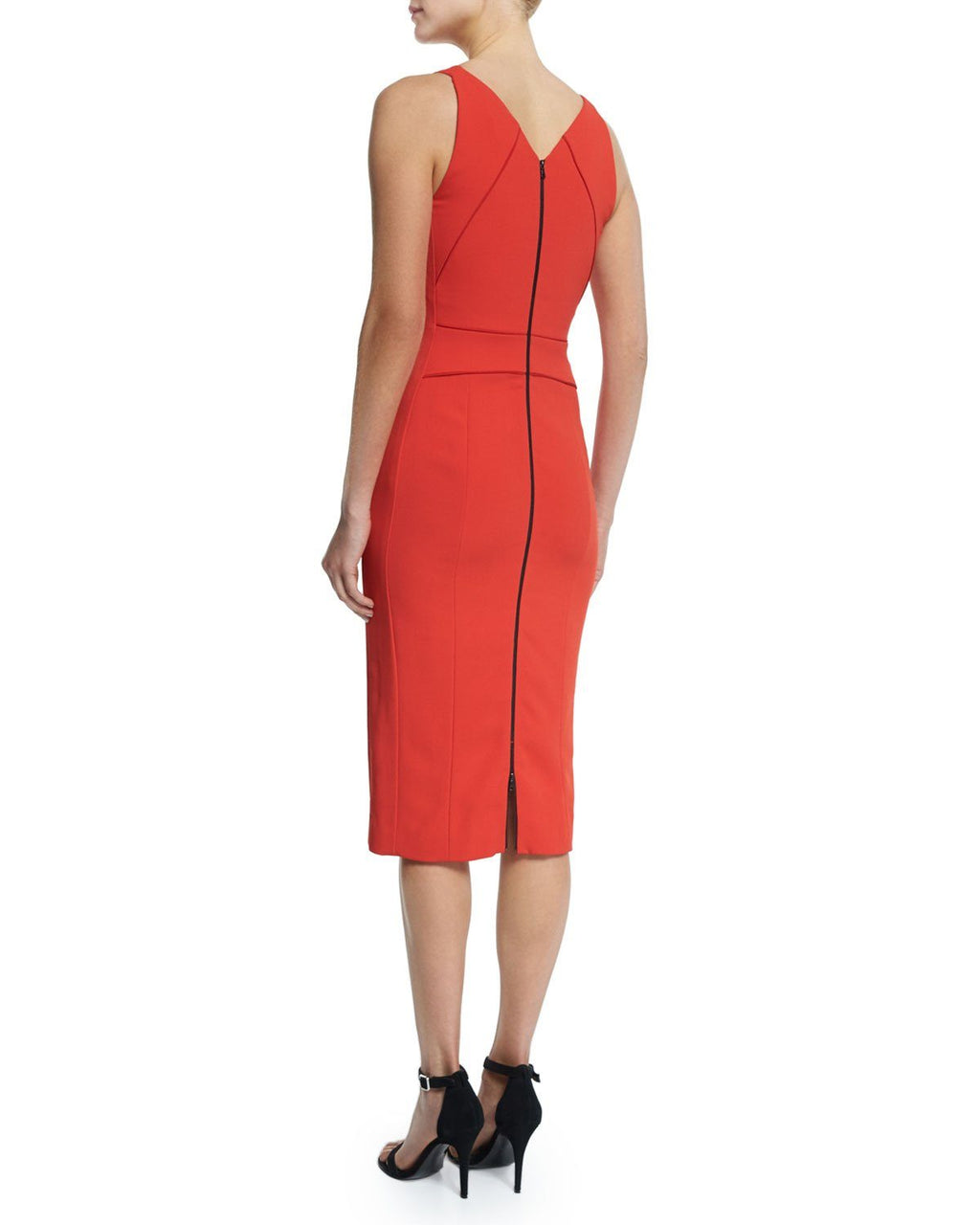Narciso Rodriquez Sleeveless V-Neck Sheath Dress, Red