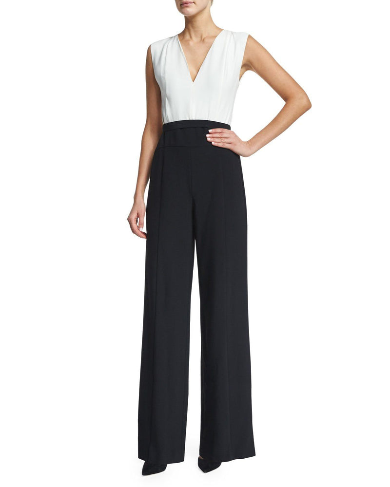 Narciso Rodriguez Sleeveless Wide-Leg Jumpsuit, White/Black