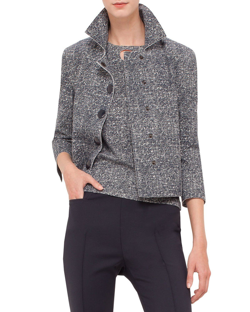 Akris punto 3/4-Sleeve Snap-Front Jacket, Navy/Cream