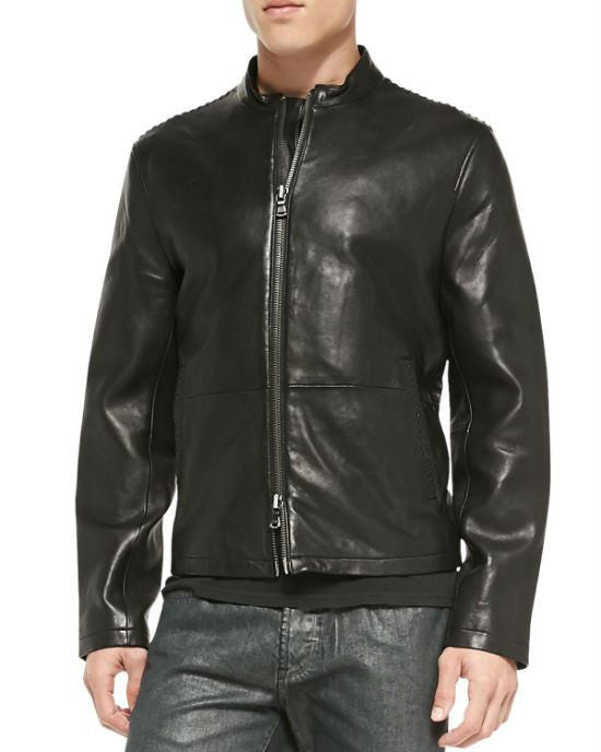 John Varvatos Star USA Lace-Stitched Leather Jacket-JOHN VARVATOS STAR USA-Fashionbarn shop
