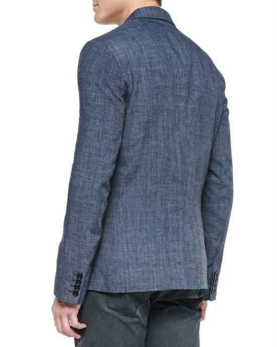 John Varvatos Star USA One-Button Jacket W/ Peaked Lapels, Indigo-JOHN VARVATOS STAR USA-Fashionbarn shop