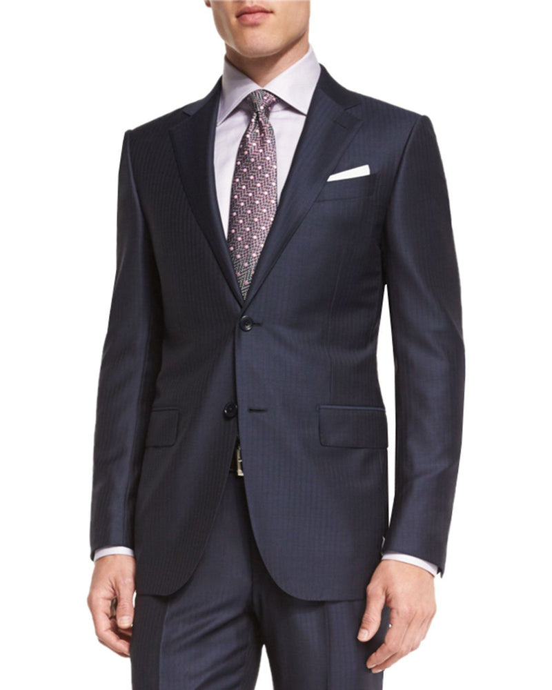 ERMENEGILDO ZEGNA Wool Striped Two-Piece Suit, Navy