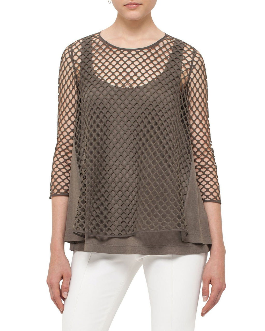 Akris punto 3/4-Sleeve Mesh Top, Black