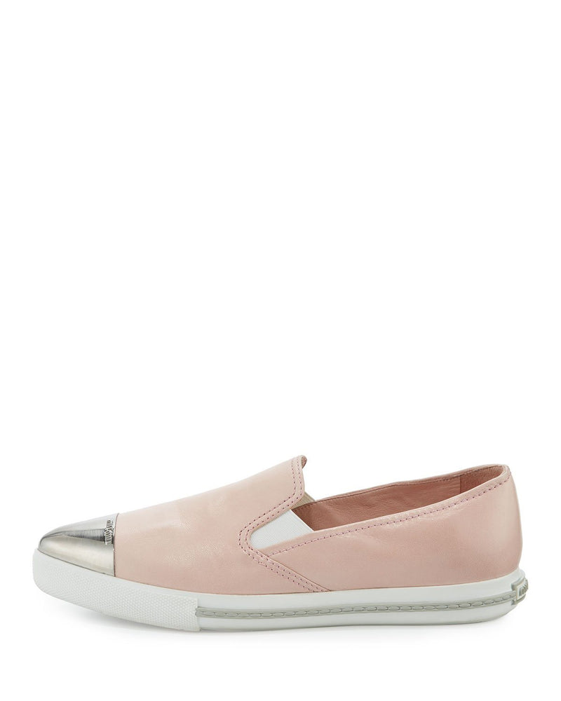 MIU MIU Metal-Cap-Toe Leather Sneakers