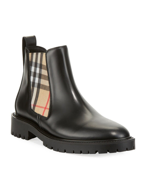 Prada Allostock Leather/Check Gored Booties