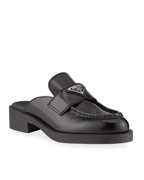 Prada Black Leather Logo Loafer Mules