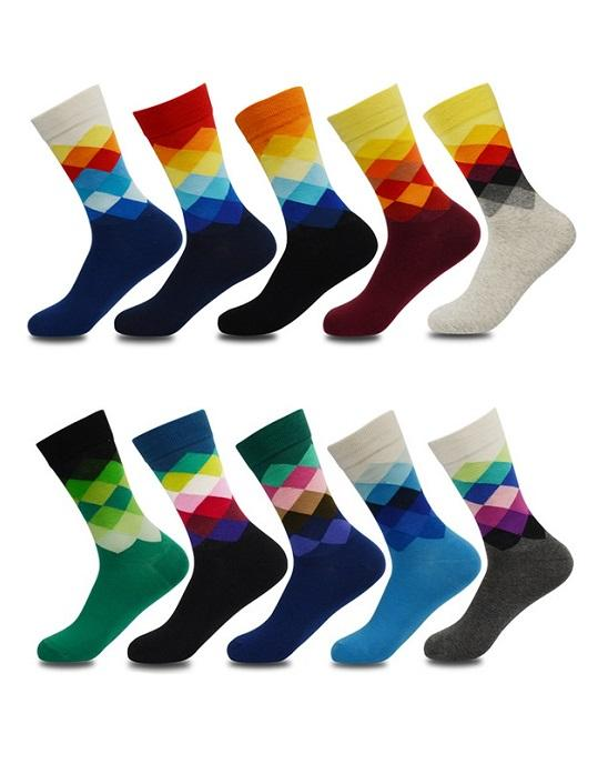 Socks Teams Men's 10-Pack Multiplaid Cotton Crew Socks