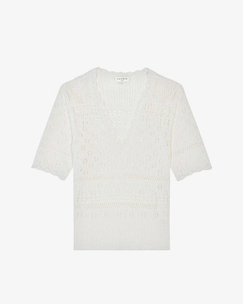 Sandro Joe Pointelle Cotton-Knit Jumper