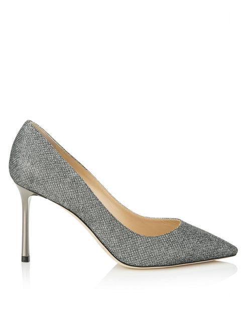 Jimmy Choo ROMY 85 Anthracite Lamé Glitter Pointy Toe Pumps