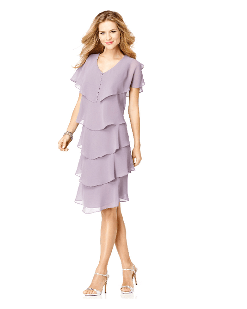 Patra Short-Sleeve Tiered Dress-PATRA-Fashionbarn shop