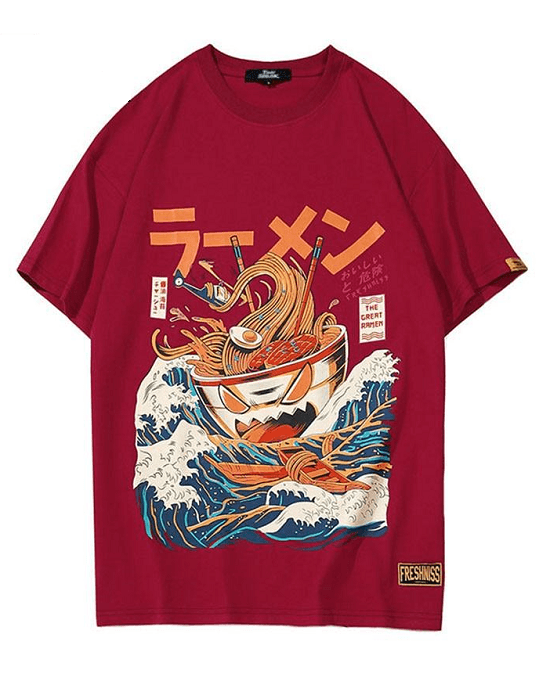 Men's Japanese Harajuku T-Shirt, Noodle Ship Cartoon