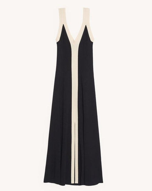 Sandro Long two-tone ribbed knit dress
