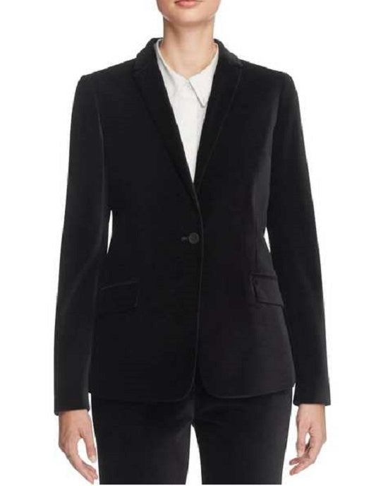 T Tahari Womens Randa One-Button Blazer Velvet Notched Lapel