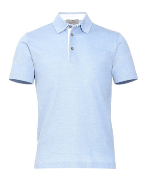 Canali Men's Red Short-sleeve Polo Shirt, Blue