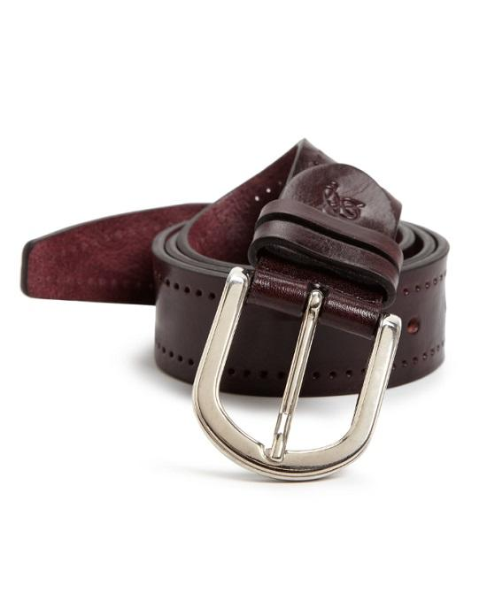Canali Men's Brown Perforated Leather Belt