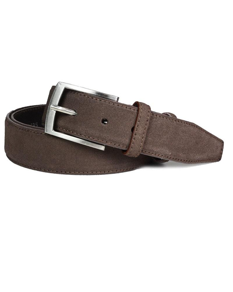 Canali Reversible Slim Suede Leather Belt With Texture