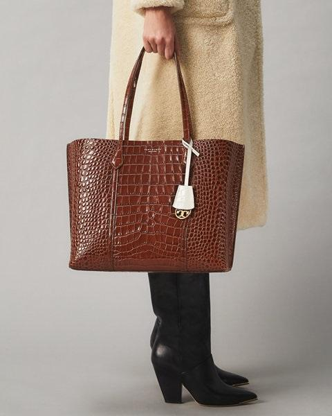 Tory Burch Perry Embossed Triple-Compartment Tote Bag, Brown