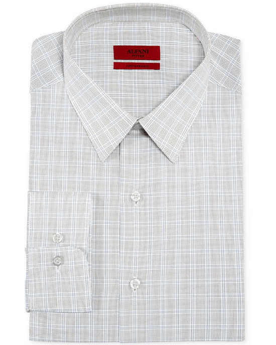 Alfani RED Fitted Navy Framed Tan Check Performance Dress Shirt-ALFANI-Fashionbarn shop