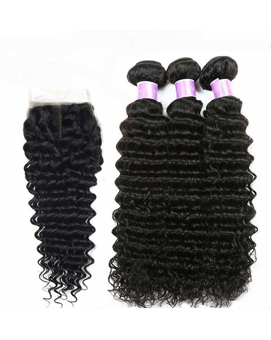 Cranberry Brazilian Virgin Curly Hair 3 Bundles With 4*4 Lace Closure