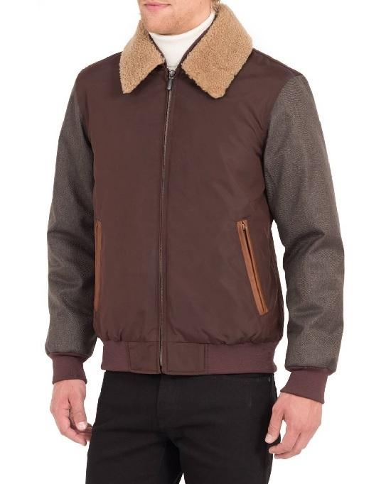 RAINFOREST Waxed Nylon Jacket with Faux Shearling Collar