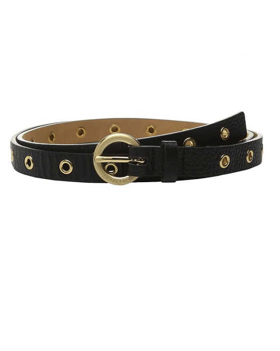 Michael Kors Women's Genuine Leather Skinny Grommet Belt