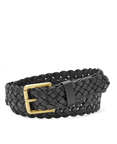 Fossil Woven Roller Buckle Belt Black - Fashionbarn shop