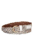 Fossil Printed Braid Leather Belt, Coconut - Fashionbarn shop
