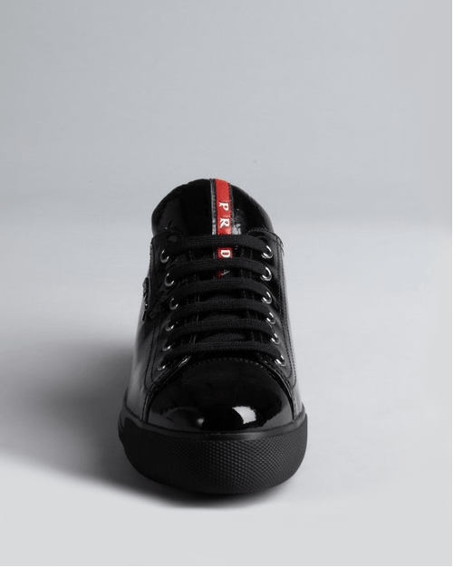 PRADA Prada Sport Black Patent Leather Low-Top Sneakers