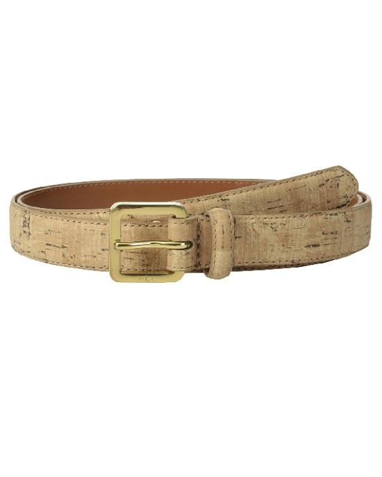 LAUREN RALPH LAUREN Grommet Holes Skinny Cork Belt natural