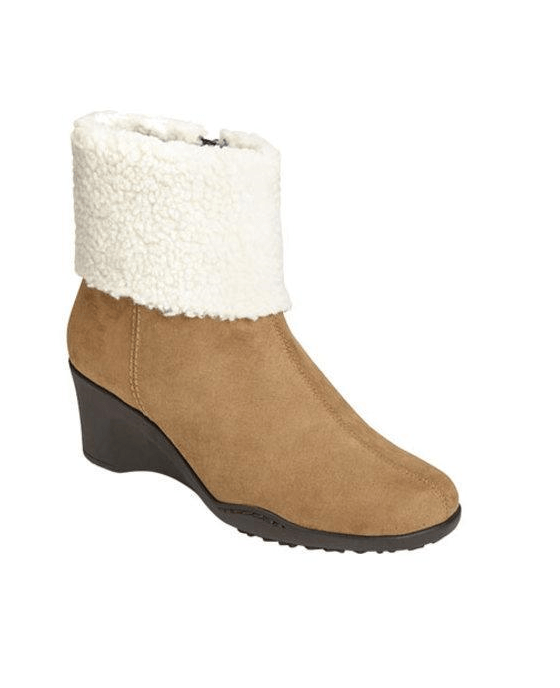 Women's Aerosoles Factory Cuff Bootie Taupe Combination Faux Suede/Faux Fur - Fashionbarn shop - 1