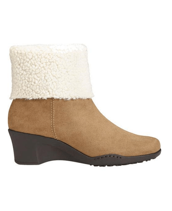 Women's Aerosoles Factory Cuff Bootie Taupe Combination Faux Suede/Faux Fur - Fashionbarn shop - 2