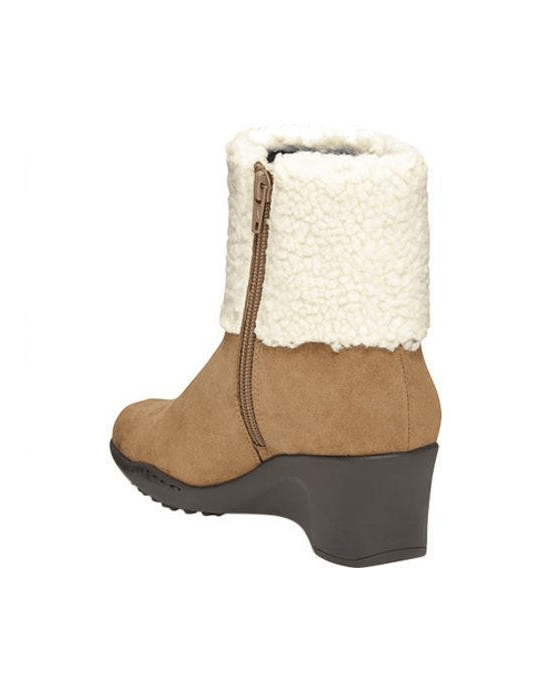 Women's Aerosoles Factory Cuff Bootie Taupe Combination Faux Suede/Faux Fur - Fashionbarn shop - 3