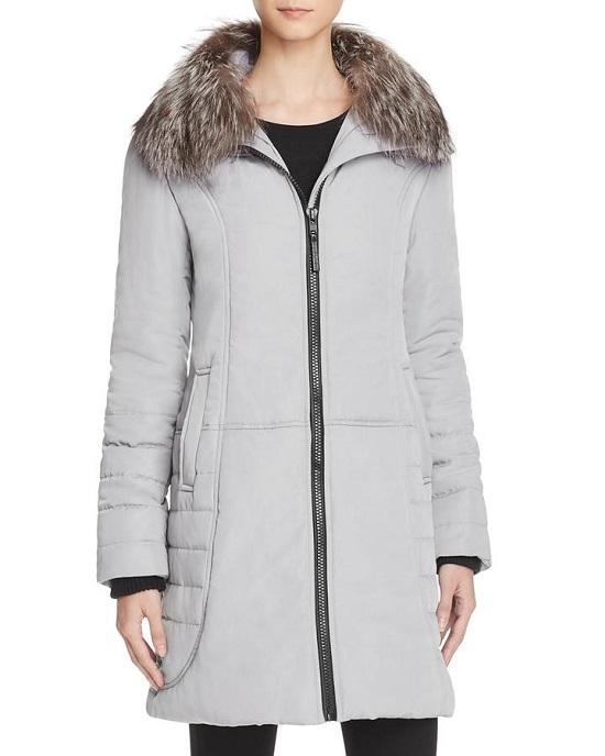 MAXIMILIAN FURS Fox Fur Collar Puffer Coat